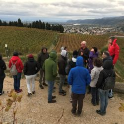Daniel Brissot, the agronomist of the Cave de Tain winery, presents the main characteristics of the Hermitage terroir to the group